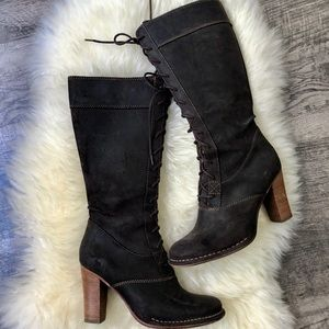 EUC Frye Lace Up Heeled Villager Suede Boots 7